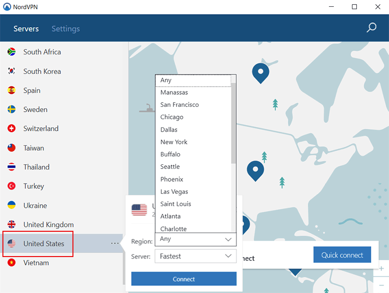 Nordvpn US servers