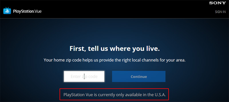 Playstation Vue geo block
