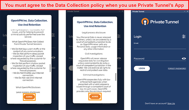 Screenshot of Private Tunnel's app featuring the Data Collection, Use and Retention Policy