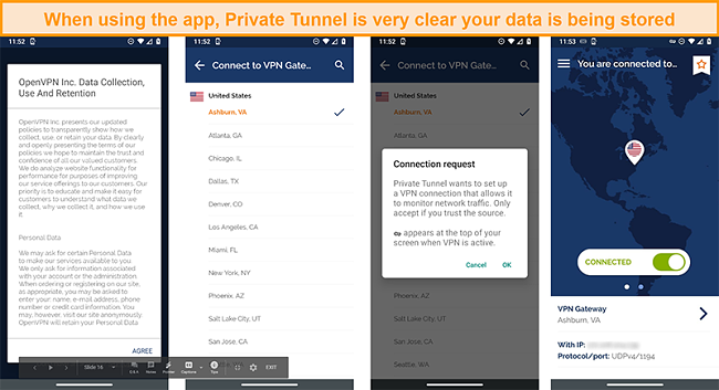 Screenshot of the Private tunnel app showing the Data Collection, Use and Retention policy, including a popup that reveals that a network connection is being monitored
