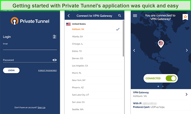 Screenshot of Private Tunnel's Android app setup