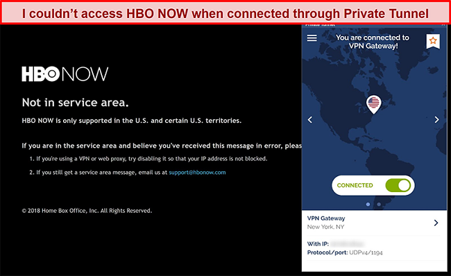Screenshot of HBO NOW blocking a connection from Private Tunnel