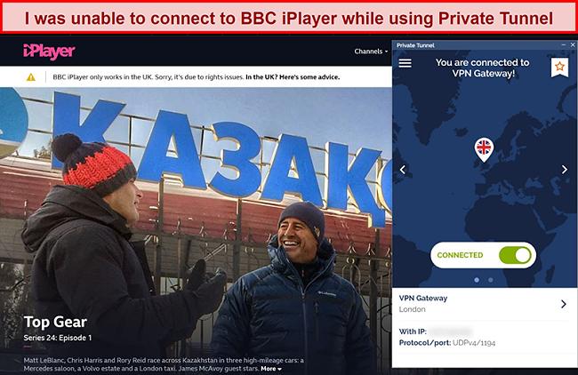Screenshot of BBC iPlayer blocking Private Tunnel
