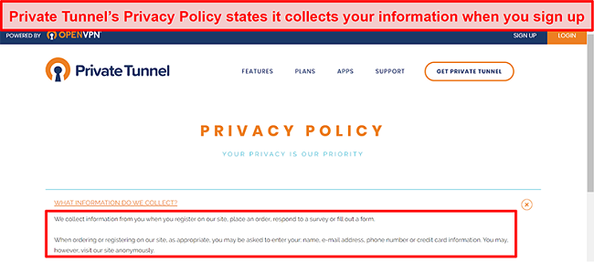 Screenshot of Private Tunnel's Privacy Policy
