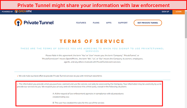 Screenshot of Private Tunnel's Terms of Service