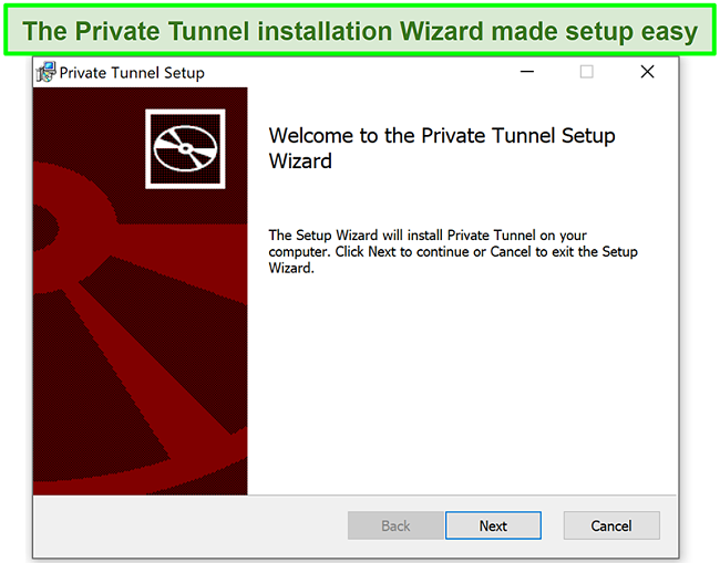 Screenshot of Private Tunnel's installation wizard