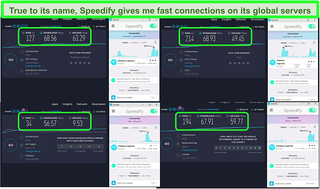 Screenshot of speed tests while Speedify is connected to servers in Denmark, Australia, the US, and Japan