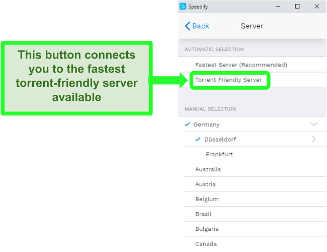 Screenshot of Speedify's server selection menu