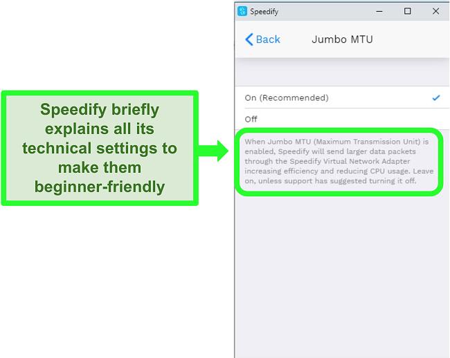 Screenshot of an explanation beneath one of Speedify's settings
