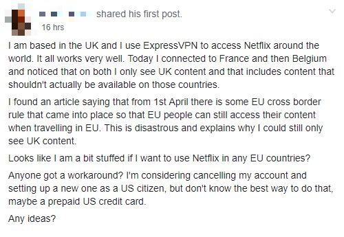 VPN and Privacy group post about Netlfix in EU