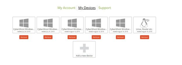 CyberGhost My Devices
