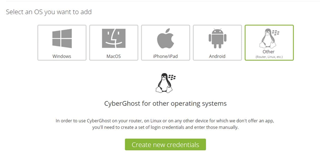 CyberGhost create new credentials