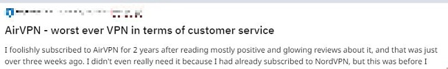 Screenshot of AirVPN's negative user review comments on Reddit