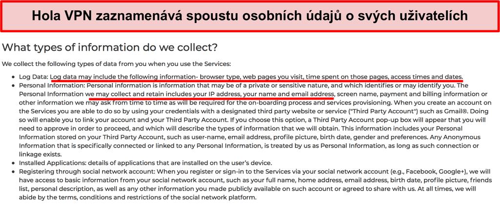Snímek obrazovky zásad ochrany soukromí VPN Hola zobrazující, že zaznamenává IP adresu
