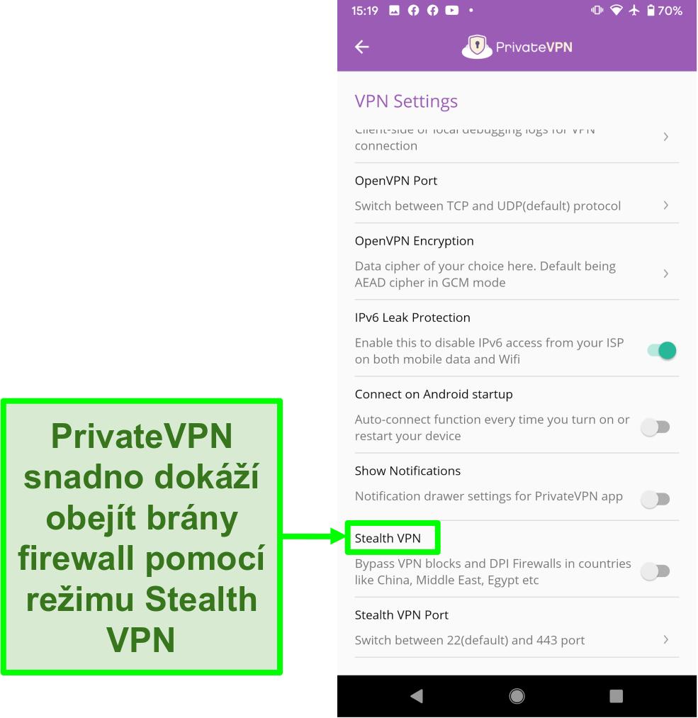 Screenshot aplikace PrivateVPN Android zobrazující funkci Stealth VPN, která pomáhá obejít bloky VPN