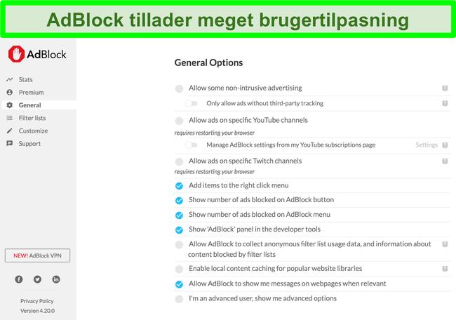 Skærmbillede, der viser AdBlocks mange tilpasningsmuligheder
