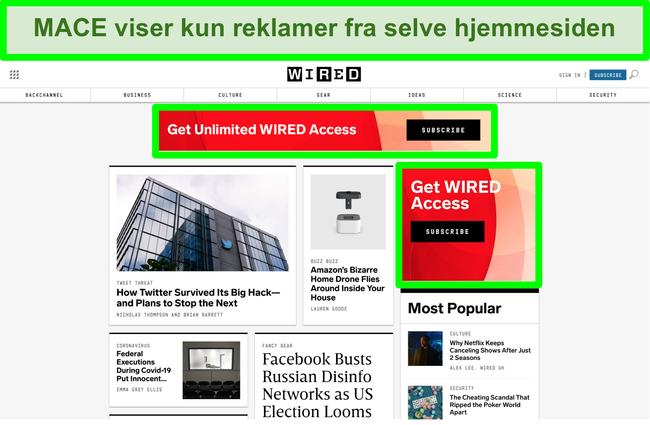 Skærmbillede af MACE, der blokerer for de fleste annoncer på Wired-webstedet