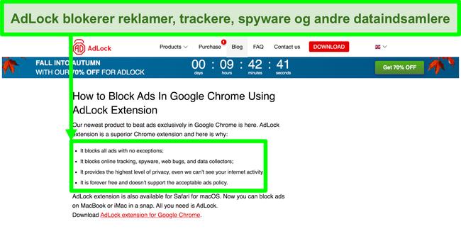 Skærmbillede af AdLock-webstedet med angivelse af, at det ikke har nogen