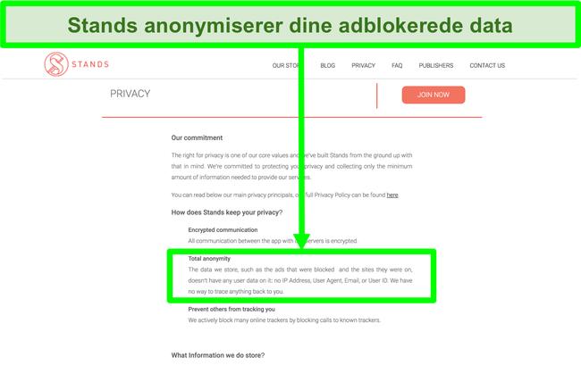 Skærmbillede af Stands-webstedet med angivelse af, at de data, den har om blokerede annoncer, aldrig er knyttet til brugernes personlige oplysninger