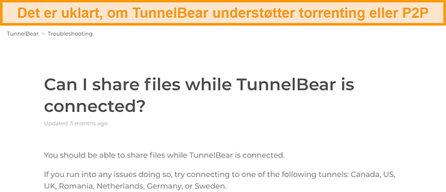 Skærmbillede af TunnelBears fejlfindingsside om fildeling