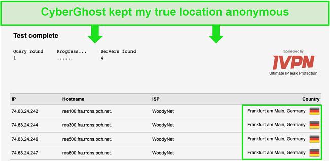Screenshot of DNS leak test results.
