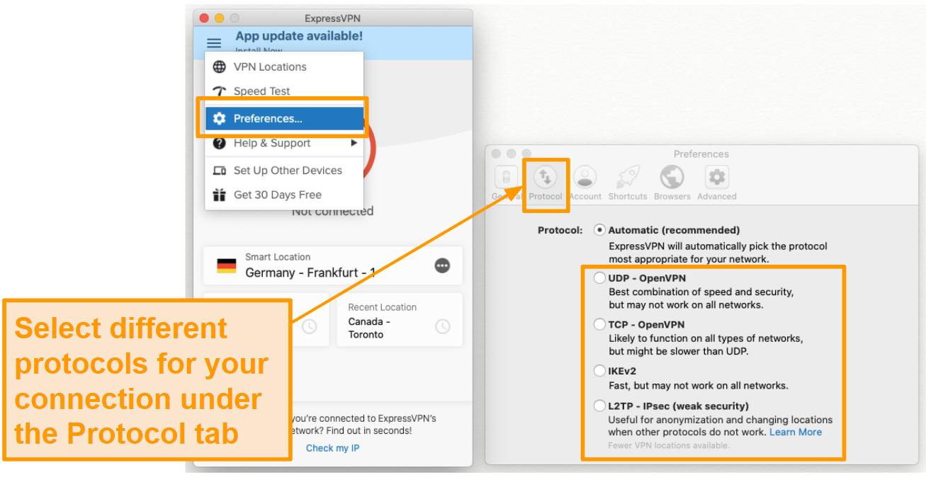 Screenshot of protocol tab under preferences in the ExpressVPN app.