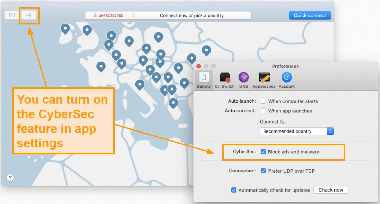 Screenshot of NordVPN CyberSec feature under app settings.