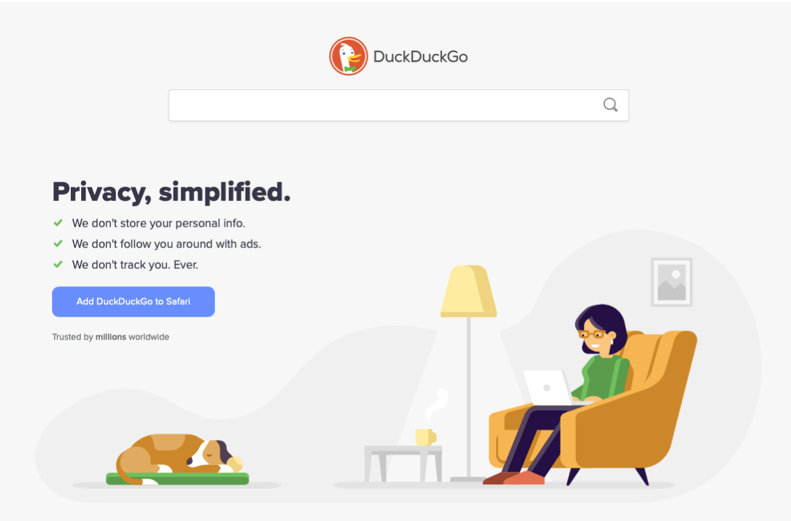 Screenshot of the DuckDuckGo browser page.