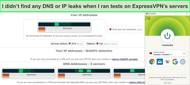 Screenshot of a DNS and IP leak test on ExpressVPN's German server