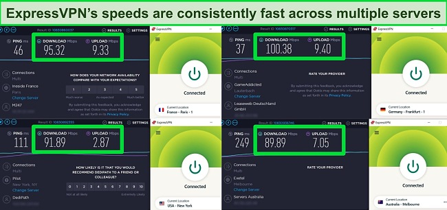 Screenshot of speed tests carried out on 4 ExpressVPN servers