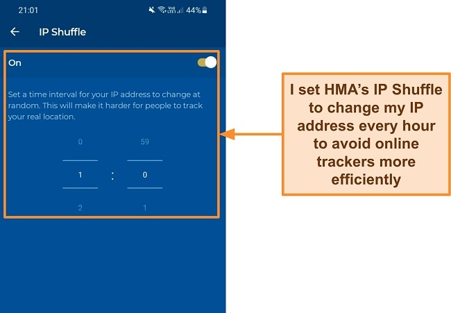 Screenshot of the IP Shuffle option on HMA's Android app