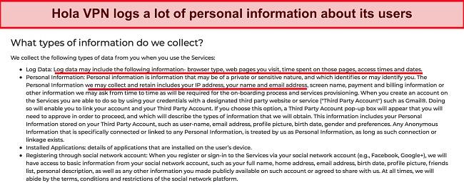 Screenshot of Hola VPN's logging policy