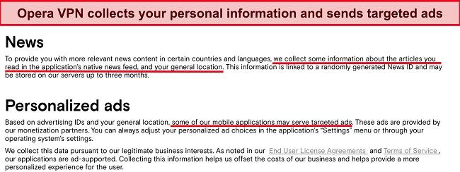 Screenshot of Opera VPN's logging policies