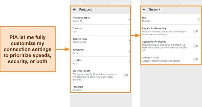 Screenshot of PIA's security settings