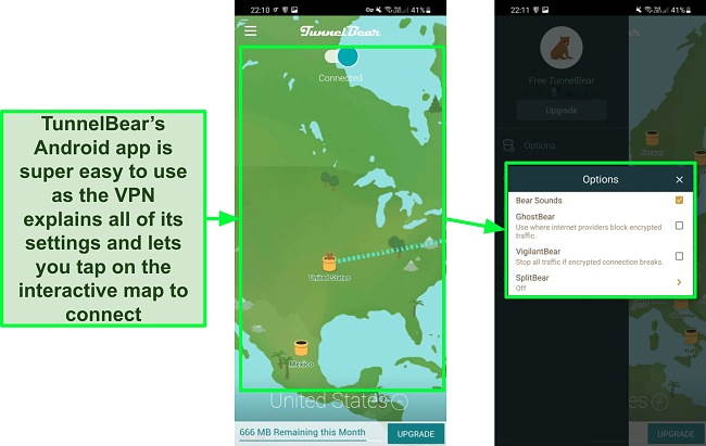 Screenshots of TunnelBear's app interface on Android