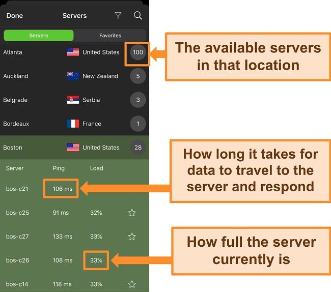 Screenshot of IPVanish iOS app with server information highlighted.