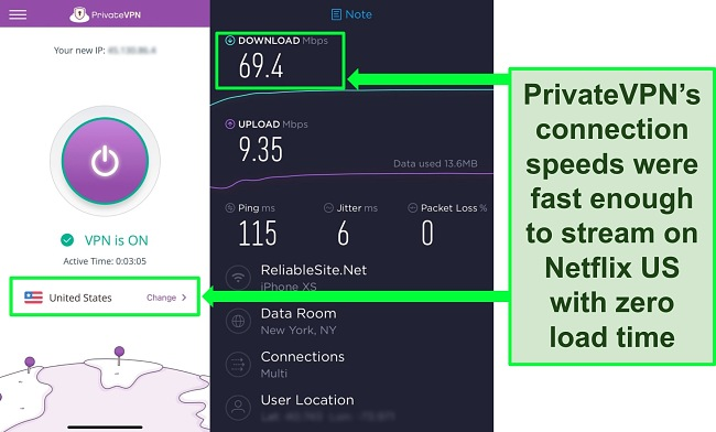 Screenshot of PrivateVPN connected to a US server, plus the result of an Ookla speed test.