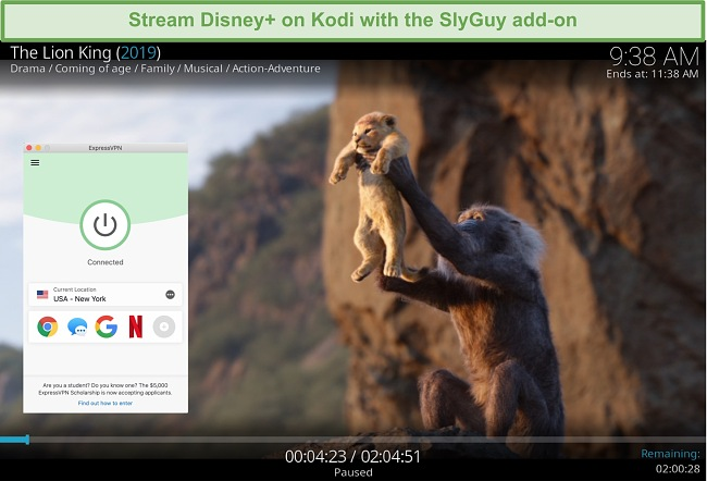 Screenshot of Disney Plus streaming on Kodi while connected to an ExpressVPN server in the United Kingdom