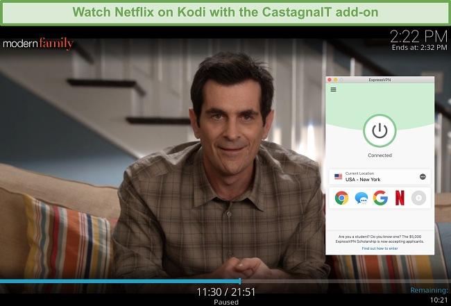 screenshot of Modern Family streaming on the Netflix add-on for Kodi