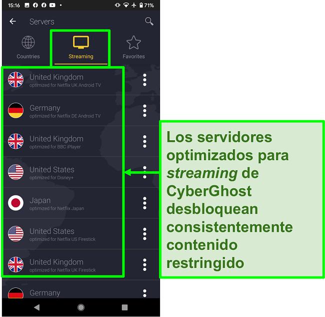 Captura de pantalla de los servidores optimizados para transmisión de CyberGhost