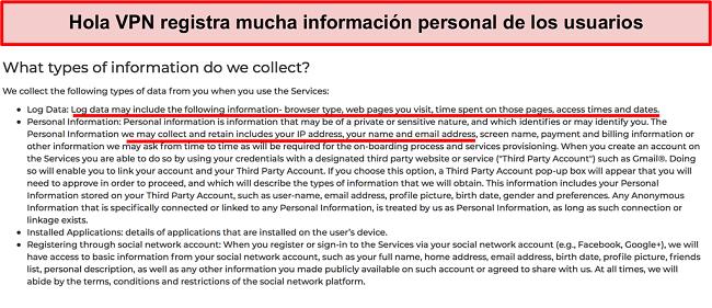 Captura de pantalla de la política de privacidad de Hola VPN que muestra que registra la dirección IP