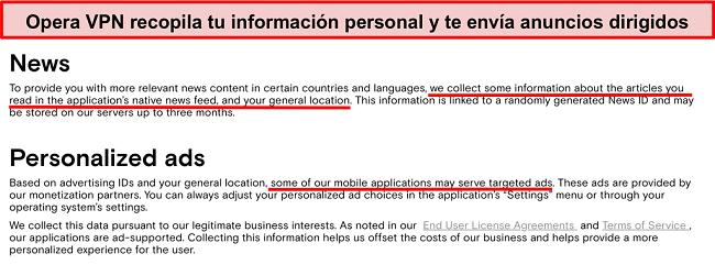 Captura de pantalla de la política de privacidad de Opera VPN que muestra que registra la información personal de los usuarios y envía anuncios dirigidos