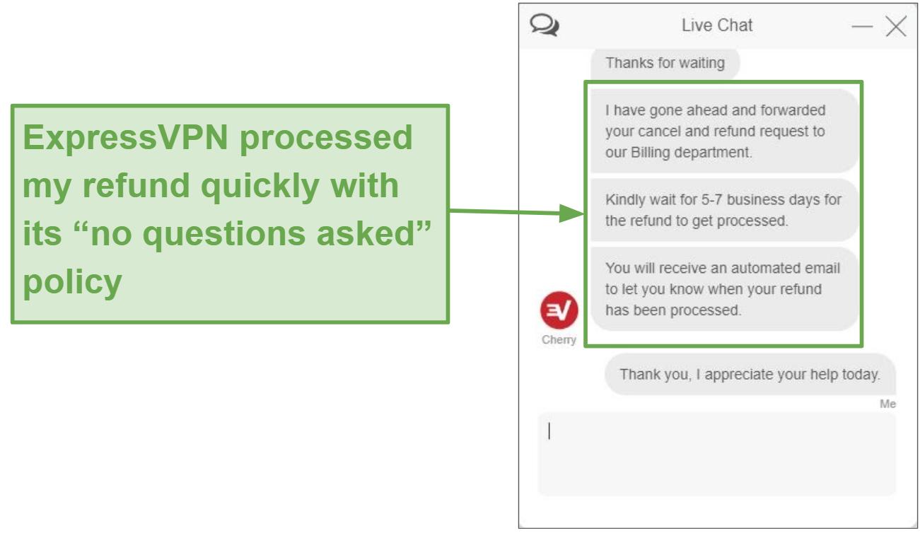 Screenshot of ExpressVPN refund through live chat.