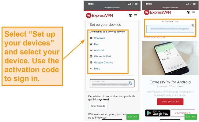 Screenshot of ExpressVPN mobile device set up.