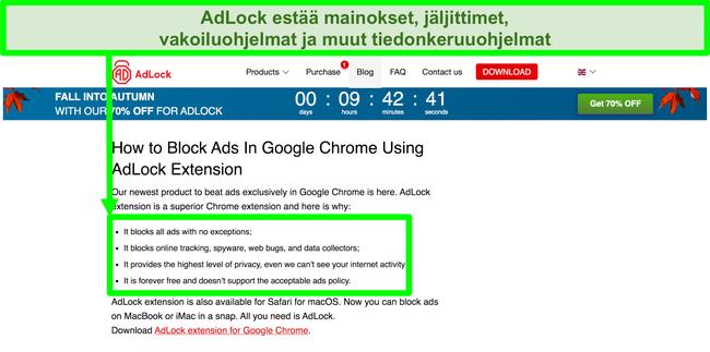 Näyttökuva AdLock-verkkosivustosta, jonka mukaan sillä ei ole