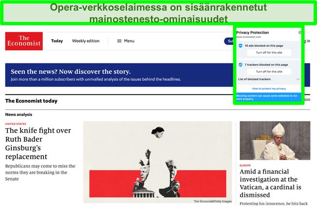 Näyttökuva Opera browerin sisäänrakennetusta mainosten estosta, joka poistaa mainokset TechCrunch-verkkosivustolta