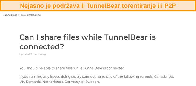 Snimka zaslona stranice za rješavanje problema programa TunnelBear o dijeljenju datoteka
