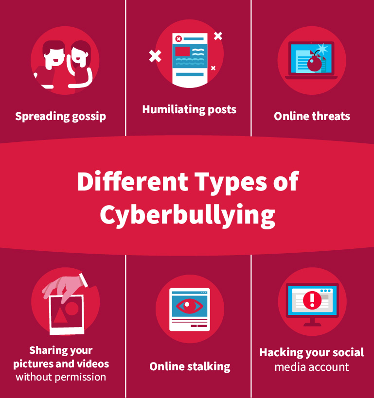 Different Types of Cyber Bullying Info Graphic