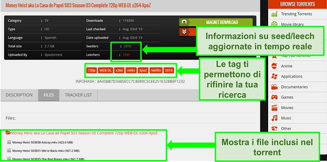 Screenshot della pagina di download di 1337xTorrents