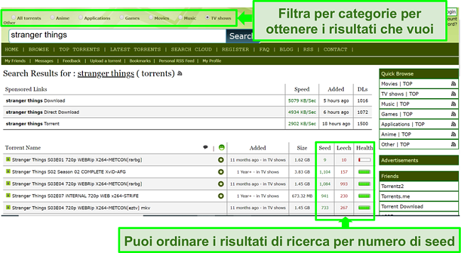 Screenshot della pagina di ricerca di Limetorrents
